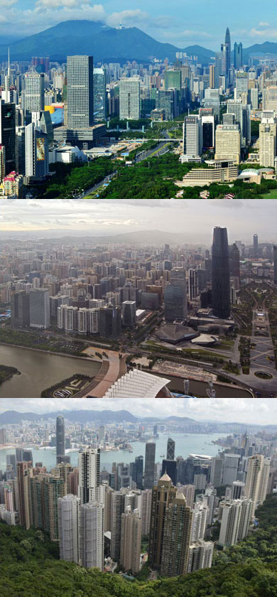 Shenzhen (top), Guangzhou (middle), Hong Kong (bottom)