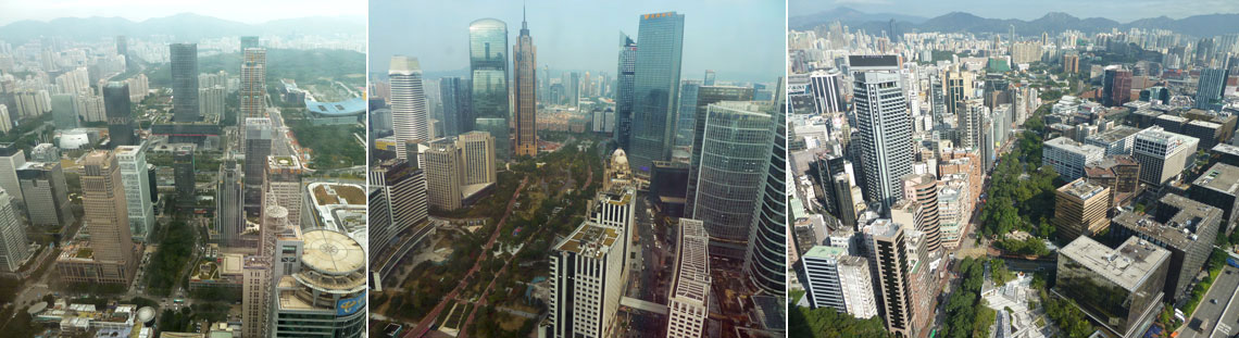 (Left) View of Shenzhen from the boardroom in Ping An Finance Centre; (Center) View of the Guangzhou Skyline from Chow Tai Fook (CTF) Finance Centre; (Right) View of Hong Kong's Tsim Sha Tsui District from the New World Centre