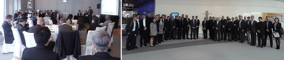(Left) Final meeting in sky100 of the International Commerce Centre (ICC) in Hong Kong; (Right) The Hong Kong Committee gather to take a group photo after the meeting