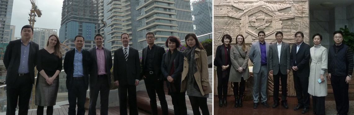 (Left) CTBUH and Parkland during the tour of One Shenzhen Bay; (Right) CTBUH with Kingold Group, R&F, and Guangzhou Design Institute