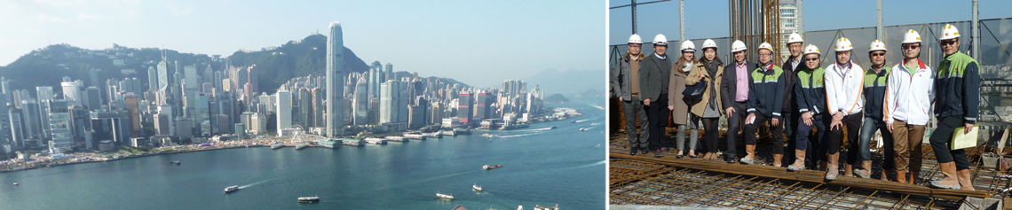 (Left) View of the Central District of Hong Kong from the New World Centre; (Right) CTBUH with New World Development during the tour of New World Centre